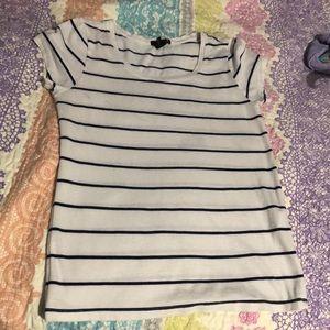 Cream white forever 21 shirt with navy stripes